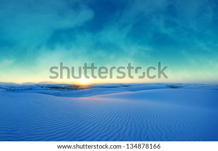 A peaceful blue sunset over the White Sands National Park in New Mexico (large composit image)