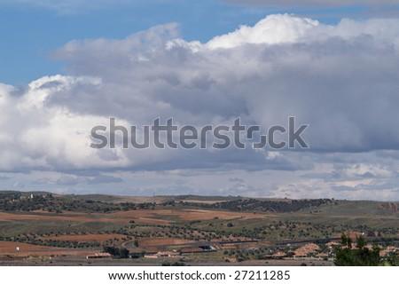 A peaceful countryside landscape near Toledo town, Spain - stock photo