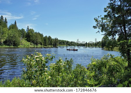 A peacful scene in the woods of Ontario Canada. - stock photo