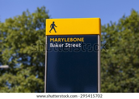 A pedestrian sign on Baker Street in London. - stock photo