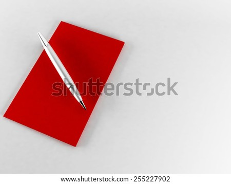 a pen and a paper on the red background - stock photo