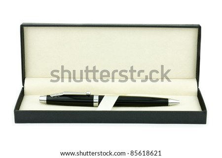 A pen in a gift box isolated on white