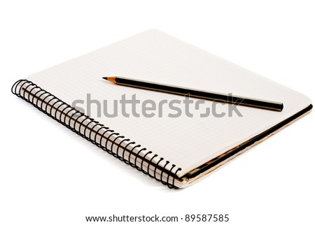 a pencil and notebook isolated on a white background - stock photo