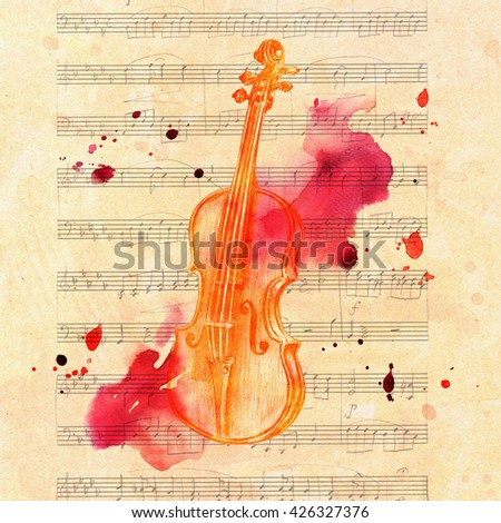 A pencil drawing of a golden colored vintage violin on a piece of aged sheet music, with grunge watercolor splashes - stock photo