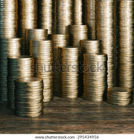 A penny saved is a penny earned - golden euro coins version - stock photo