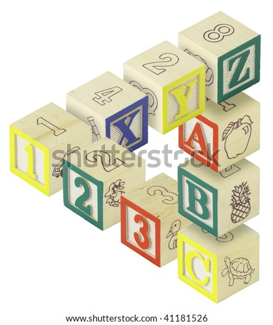 A penrose triangle created from alphabet blocks. Letters A,B,C, X,Y and Z and numbers 123 are featured.