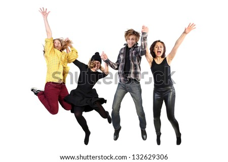 A people group jumping for happiness and joy with the raised hands. Isolated on white background - stock photo