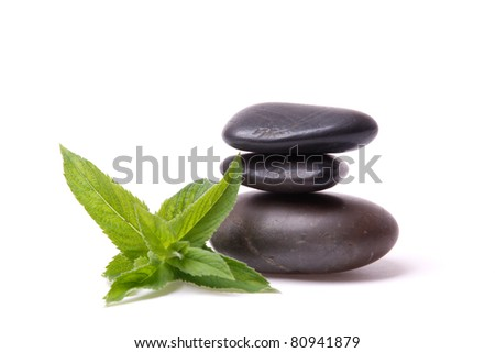 A peppermint and a stack of stones on white background