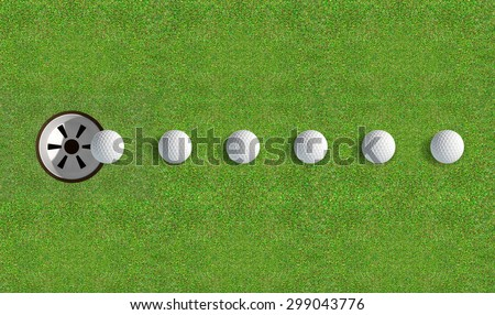 A perfectly manicured golf putting green showing a ball in motion on its way to the hole in the daytime on a blue sky background