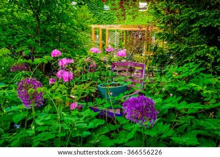 A pergola in a spring garden. - stock photo