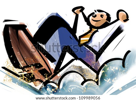 A person gets over an obstacle - stock photo