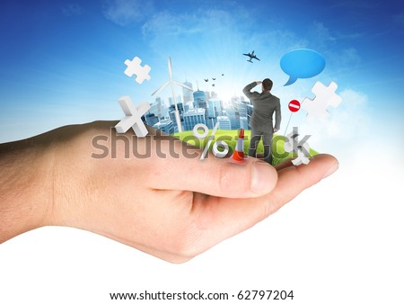 A person holding a business world. - stock photo