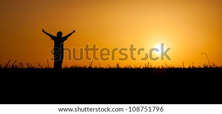 A person is celebrating life at a beautiful sunset or sunrise