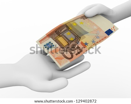 A person is making a payment with a 50 euro bill - stock photo