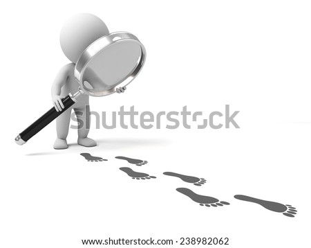 A person is using a magnifying glass searching - stock photo