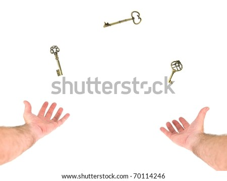 A person juggling keys on a white background