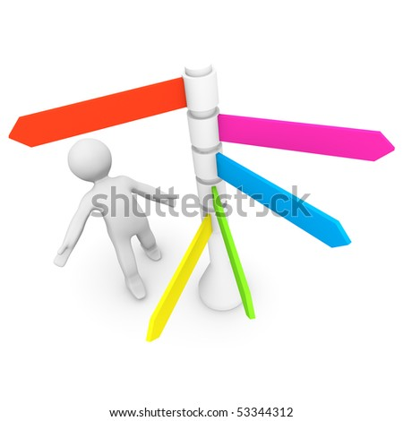 A person looking up to a signpost with many different directions. - stock photo