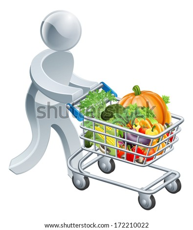 A person pushing a shopping cart or trolley full of vegetables - stock photo