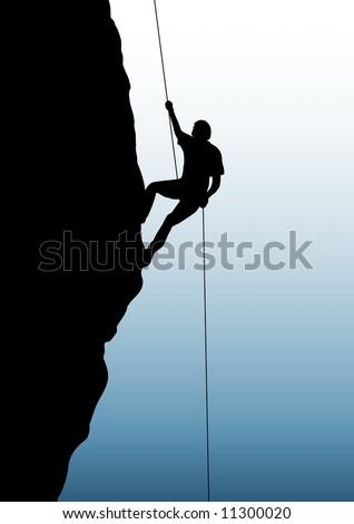 A person rock climbing - stock photo