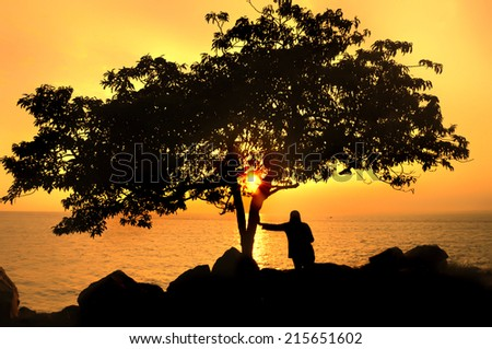 A person stand next to a tree When twilight ( silhouette )
