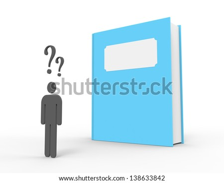 A person standing in front of a big blue book feeling confused. The book has a blank title.