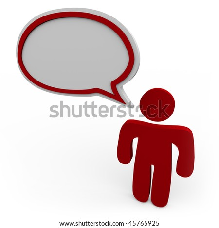 A person talking with a blank speech bubble over his head - stock photo