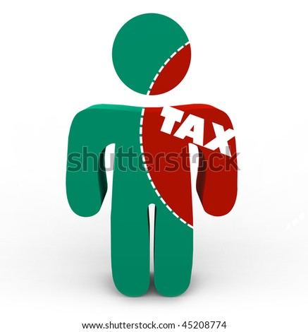 A person with a portion marked to cut out of him symbolizing the pain of taxes - stock photo