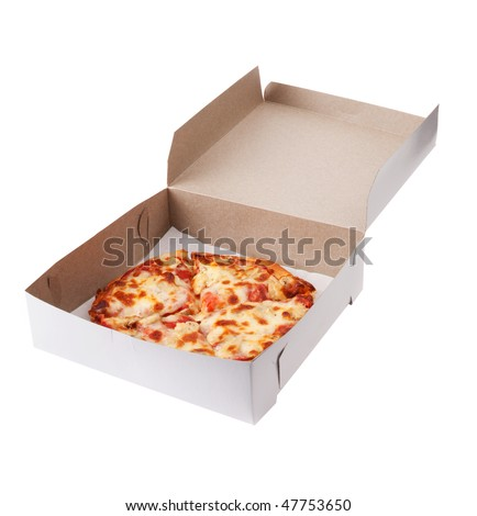 A personal sized mushroom pizza in a box. Isolated with clipping path. Inside of box is cardboard texture...not noise. - stock photo