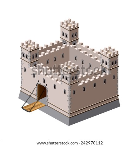 A perspective view of a medieval fortress on a white background - stock photo