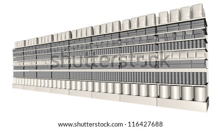 A perspective view of eight sections of supermarket shelving with generic products packed into them on an isolated background
