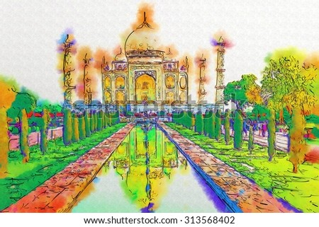 A perspective view on Taj-Mahal with reflection in water. - stock photo