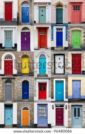 A photo collage of 25 colourful front doors to houses and homes - stock photo
