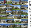 A photo collage of multiple suburban homes - stock photo