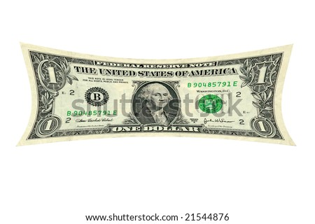a photo depiction of a dollar being stretched - stock photo