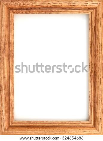 A photo frame on a wooden shelf - stock photo