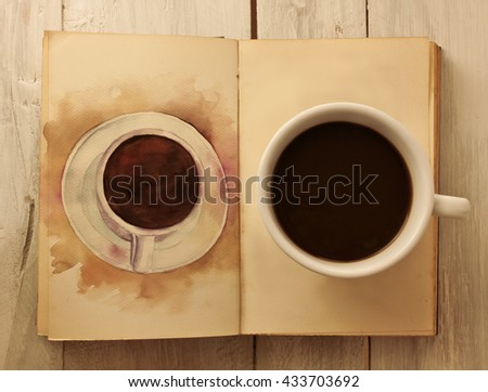 A photo of a cup of dark coffee on a page of an open old book, with a watercolor drawing of a coffee cup on the next page, shot from above and toned in sepia - stock photo