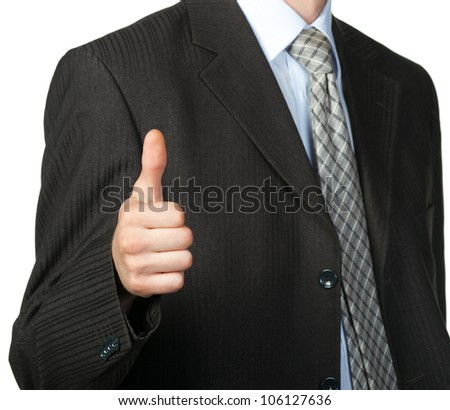 A photo of a hand doing a thumb up gesture. Isolated on white - stock photo
