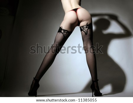 a photo of a lady in stockings with long legs - stock photo