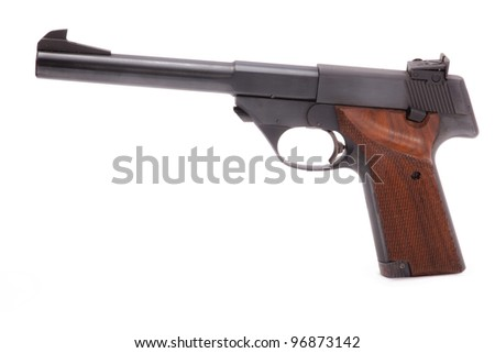 A photo of a modern semiautomatic handgun isolated on a white background used for target shooting - stock photo