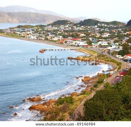 A  photo of a Wellington city on North Island, New Zealand. - stock photo