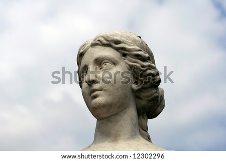 a photo of an Old woman head sculpture - stock photo
