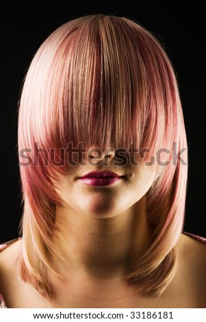 A photo of attractive woman with straight hair - stock photo