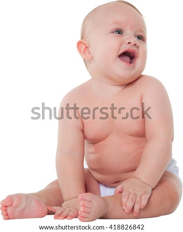 A photo of baby boy looking away Cute toddler is wearing diaper He is sitting isolated on white background - stock photo