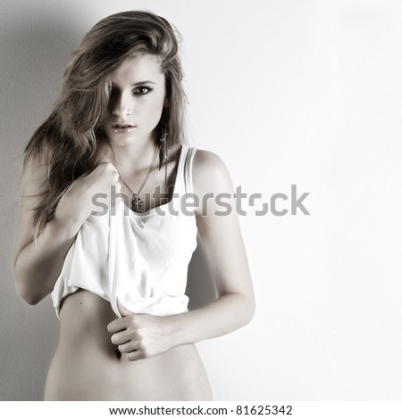 A photo of beautiful girl is in style of pinup, glamur - stock photo