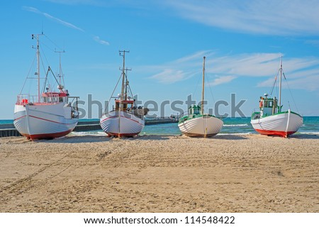 A photo of Fishing boat on the beach, Jutland, Denmark