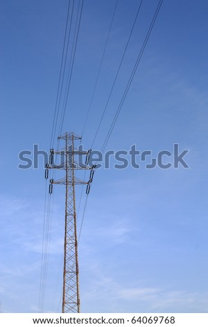 A photo of high voltage power lines.