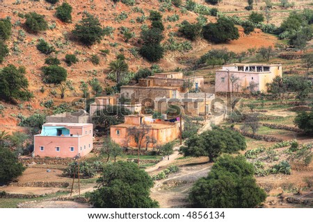 A photo of house in a small country village in Morocco