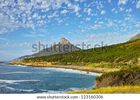 A photo of Lion's Head peak,  Part of Table Mountain National Park, Cape Town, South Africa - stock photo