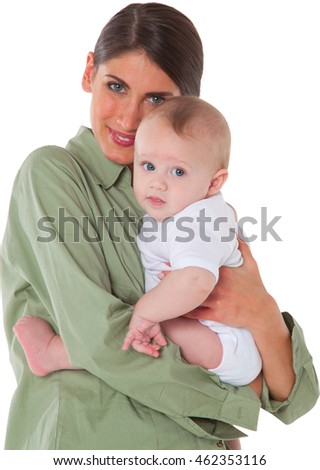 A photo of loving young woman carrying son Portrait of happy mother with baby boy They are isolated over white background