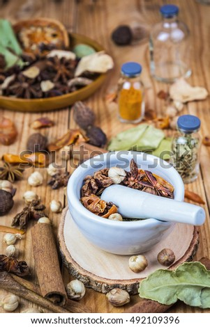A photo of Mortar Grinder Herb and herbal medicine on white background, Selective focus, Soft focus